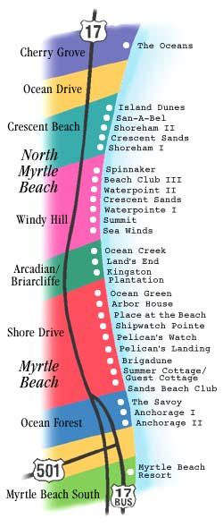Map Of Myrtle Beach SC Updated